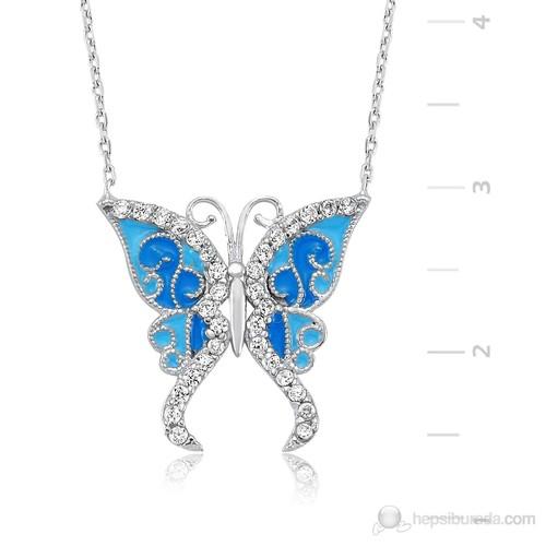 Gumush GUMUSH 925 Zirkon Taşlı Gümüş Mavi Kelebek Kolye | PT2420016