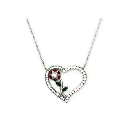 Beyazıt Takı 925 Ayar Gümüş Beyaz Kalbimin Gülü Kolye