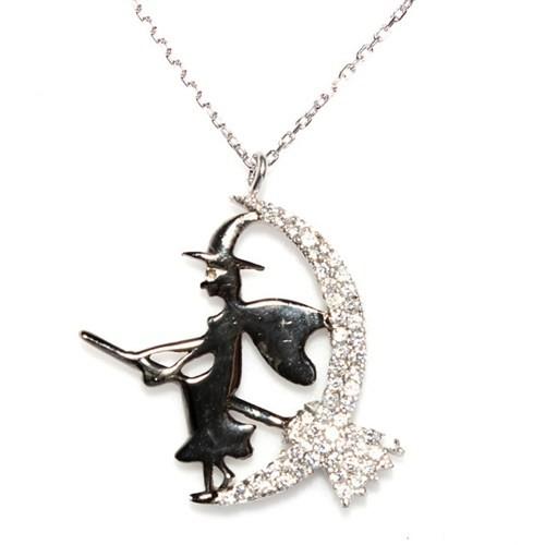 Nusret Takı 925 Ayar Gümüş Süpürgeli Cadı Kolye Beyaz - Beyaz Taş Siyah Cadı