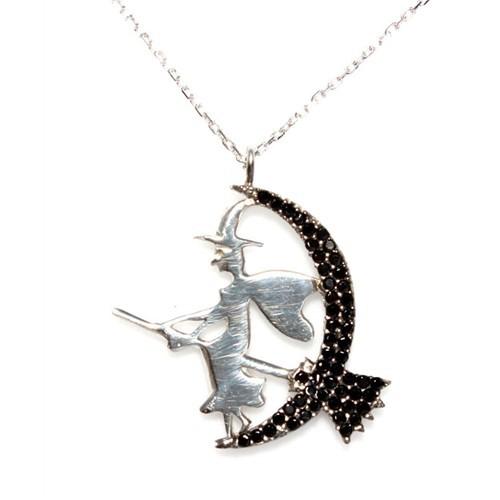 Nusret Takı 925 Ayar Gümüş Süpürgeli Cadı Kolye Beyaz - Siyah Taş Beyaz Cadı