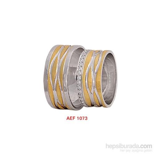 Arjuna Gümüş Tek Taş El İşi Çift Alyans Al1073