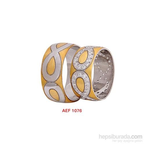 Arjuna Gümüş Tek Taş El İşi Çift Alyans Al1076
