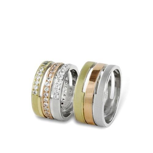 Arjuna Gümüş Tek Taş El İşi Çift Alyans Al0430