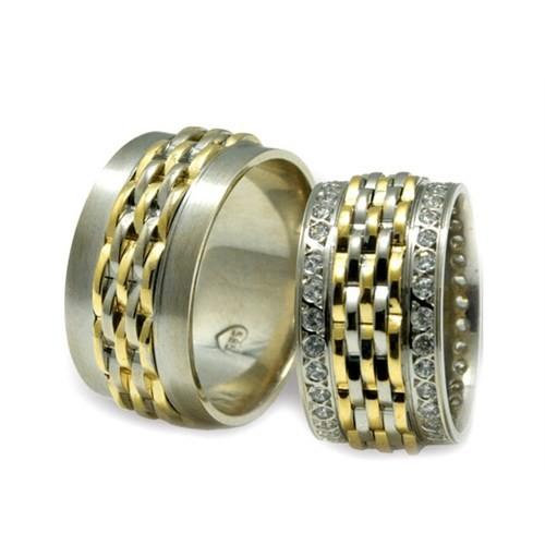 Arjuna Gümüş Tek Taş El İşi Çift Alyans Al0507