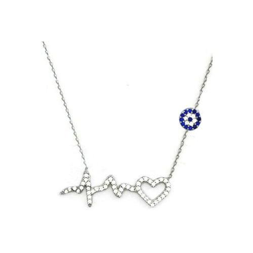 Beyazıt Takı 925 Ayar Gümüş Nazar Boncuklu Ritimli Kalp Kolyesi