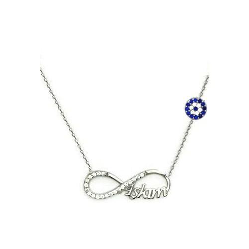 Beyazıt Takı 925 Ayar Gümüş Nazar Boncuklu Aşkım Yazılı Sonsuzluk Kolyesi