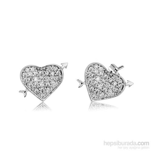 Tekbir Silver Gümüş Kalp Küpe