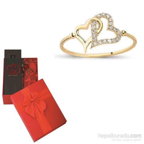 Melis Gold Sevgiliye Özel Altın Kapli Yüzük HP0092 + PARFÜM HEDİYE!!