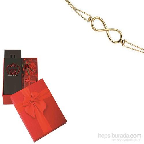 Melis Gold Sevgiliye Özel Altın Sonsuz Bileklik HP0099 + PARFÜM HEDİYE!!