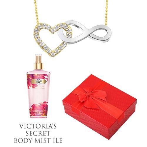 Melis Gold Altın Kalpli Sonsuz Kolye Hp0123 + Victoria's Secret Body Mist Hediye !!