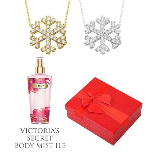 Melis Gold Altın Kartanesi Kolye Hp0131 + Victoria's Secret Body Mist ile