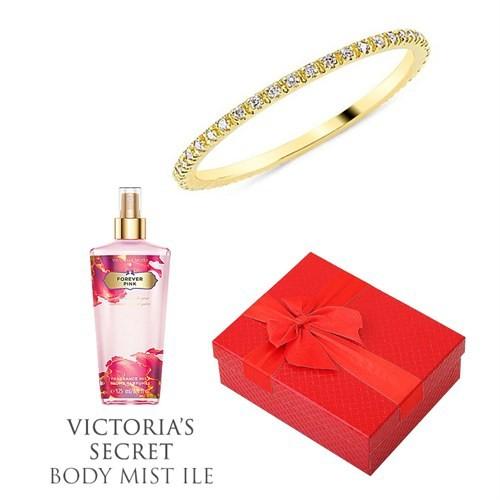 Melis Gold Altın Tamtur Yüzük Hp0143 + Victoria's Secret Body Mist ile