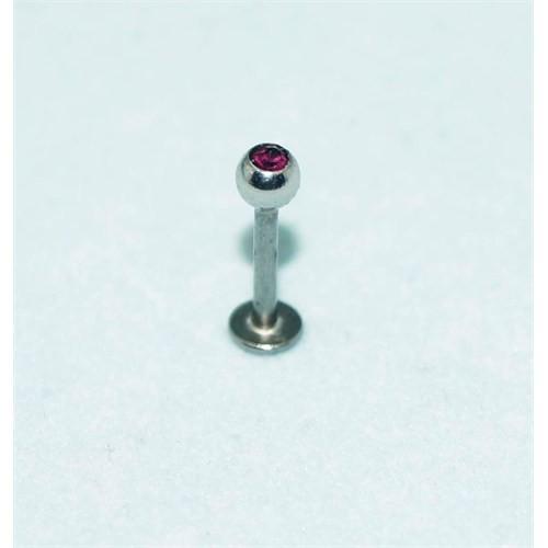Cadının Dükkanı 316L Cerrahi Çelik Mor Taşlı Top Dudak Piercing