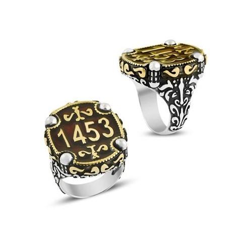 Piamen Erkek Gümüş Yüzük Mineli 1453