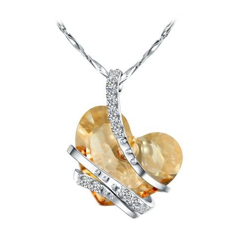 Monemel Bal Rengi Swarovski® Taşlı Gümüş Kalp Kolye