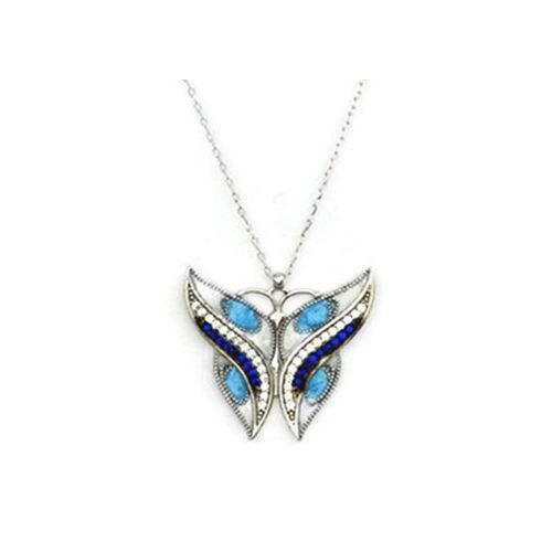 Beyazıt Takı 925 Ayar Gümüş Zirkon Mavi Beyaz Taşlı Mineli Kelebek Kolye