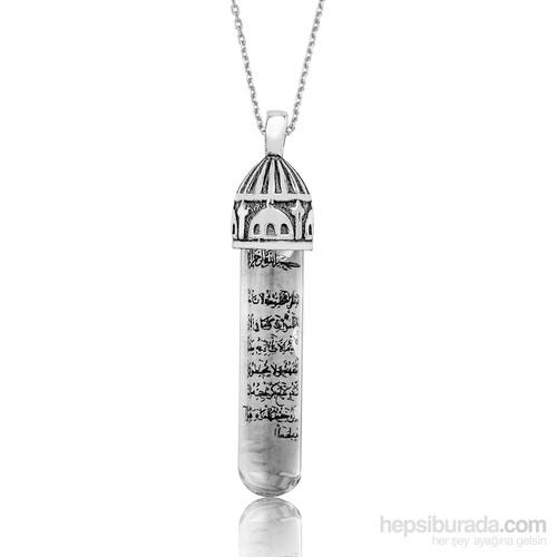 Tekbir Silver Gümüş Cami Desenli Zemzem Sulu Cevşen Kolye
