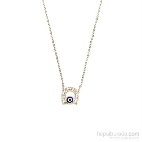 Nusret Takı 925 Ayar Gümüş Nazar Boncuklu Nal Kolye Beyaz - Beyaz Taş