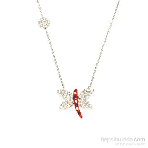 Nusret Takı 925 Ayar Gümüş Yusufçuk Kuşu Kolye Beyaz Taş Mineli