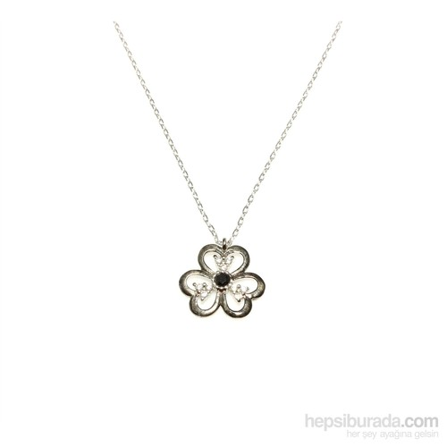 Nusret Takı 925 Ayar Gümüş Üç Yapraklı Yonca Kolye Beyaz-Siyah Rodajlı
