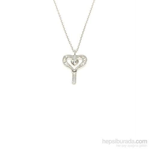 Nusret Takı 925 Ayar Gümüş Kalp Anahtar Kolye