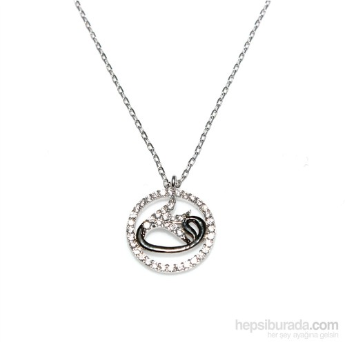 Nusret Takı 925 Ayar Gümüş Çemberli Vav Kolye Beyaz Siyah - Beyaz Taş