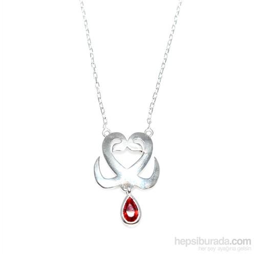 Nusret Takı 925 Ayar Gümüş İç İçe 2'Li Kalp Kolye Beyaz - Kırmızı Taş