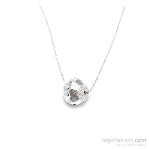 Nusret Takı 925 Ayar Gümüş Küp Desenli Top Kolye Beyaz