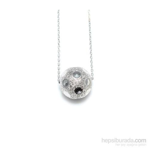 Nusret Takı 925 Ayar Gümüş Simli Top Kolye Beyaz
