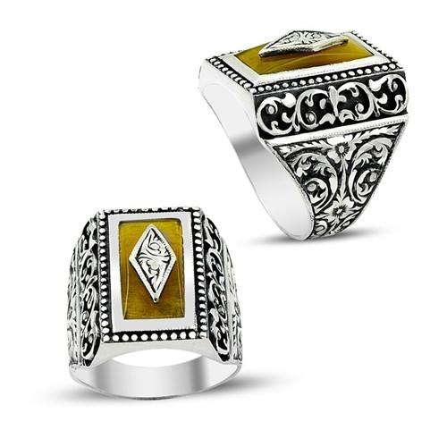 Tesbihane Erzurum El İşi Sıkma Kehribarlı Gümüş Yüzük