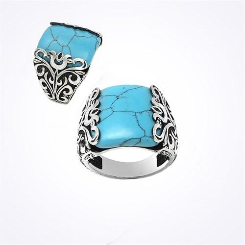 Mina Silver İşlemeli Turkuaz Mavi Taşlı Gümüş Erkek Yüzük