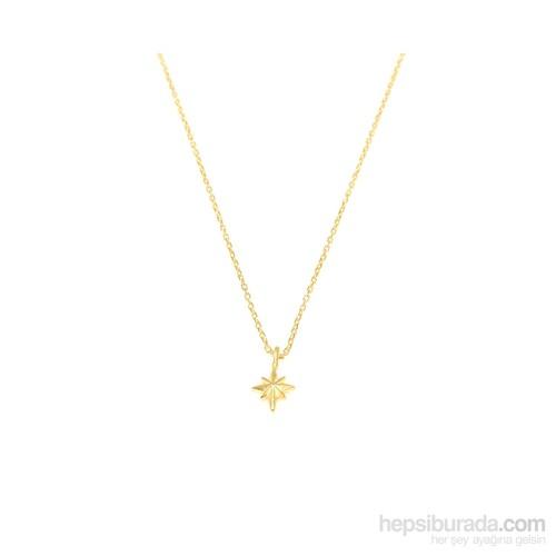 Nusret Takı 925 Ayar Gümüş Kutup Yıldızı Kolye Sarı