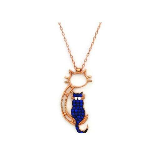 Beyazıt Takı 925 Ayar Gümüş Mavi Oturan Kedi Kolyesi