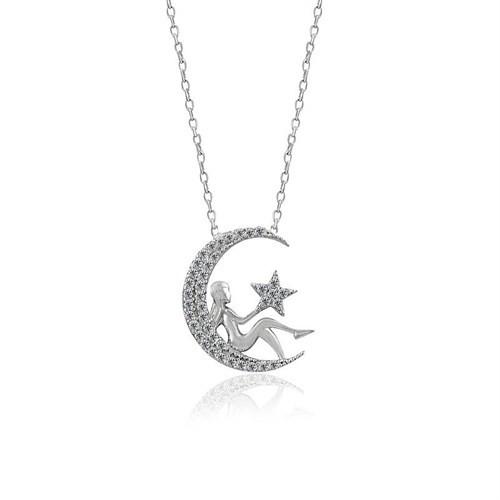 İndigo Takı Ay Perisi Gümüş Kolye