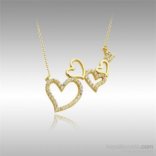 Sheamor Beş Kalp Taşlı Altın Kolye