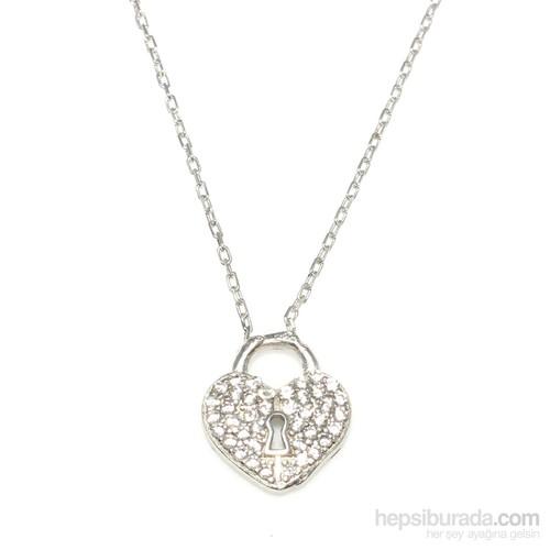 Nusret Takı 925 Ayar Gümüş Askılı Kalp Anahtar Deliği Beyaz - Beyaz Taş