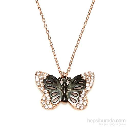 Nusret Takı Kelebek Modeli 925 Ayar Gümüş Kolye Pembe Siyah - Beyaz Taş