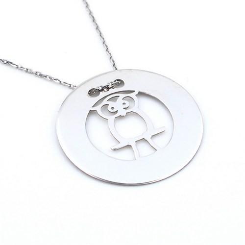 Solfera Plaka Baykuş Figürlü 925 Ayar Gümüş Kolye K082
