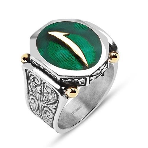 Tesbihane 925 Ayar Gümüş Yeşil Mineli Elif Harfli Özel Tasarım Yüzük
