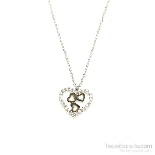 Nusret Takı 925 Ayar Gümüş Kalp Modeli Kolye Beyaz Siyah - Beyaz Taş