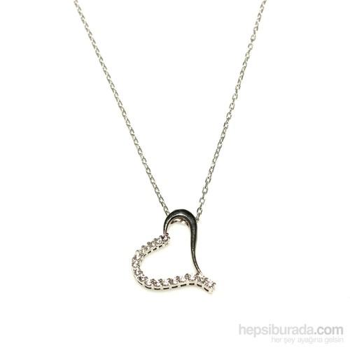 Nusret Takı 925 Ayar Gümüş Kalp Kolye Beyaz Siyah - Beyaz Taş