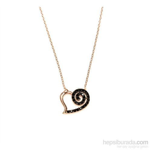 Nusret Takı 925 Ayar Gümüş Spiral Kalp Kolye Pembe - Siyah Taş