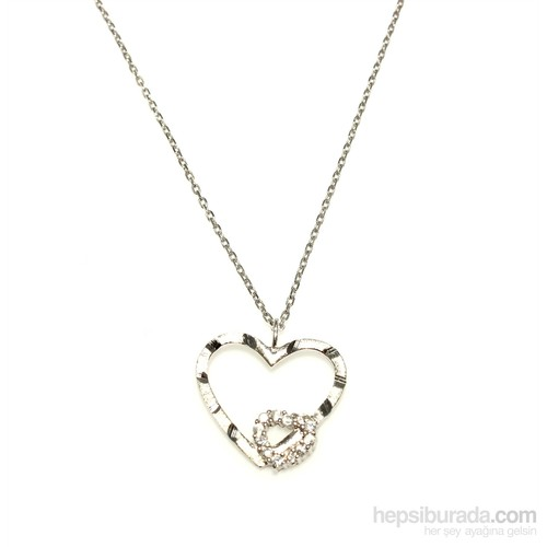 Nusret Takı 925 Ayar Gümüş Kalemli Kalp Kolye Beyaz - Beyaz Taş