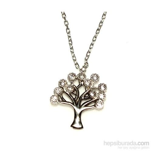 Nusret Takı 925 Ayar Gümüş Hayat Ağacı Kolye Beyaz Siyah - Beyaz Taş