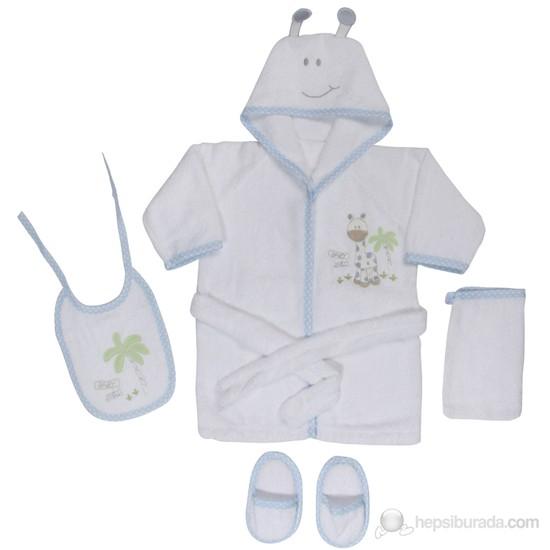 BabyJem Bornoz Seti (4'Lü) / Beyaz/Mavi Biyeli