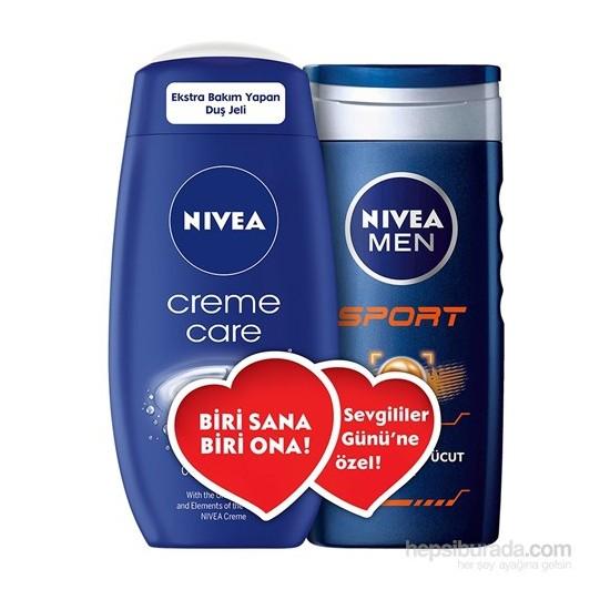Nivea Creme Care 250ml + Sport 250ml Duş jeli - Sevgililer Günü Özel