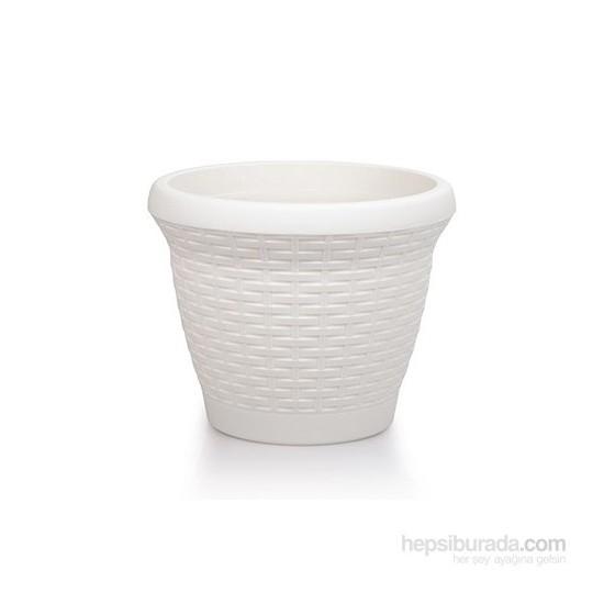 Mini Garden Hasır Saksı 3.3 Lt Beyaz