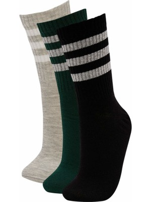 DeFacto Desenli 3'lü Soket Tenis Çorap M8784AZ21AU