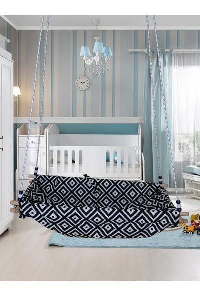 Altev Desenli Ahşap Yaylı Zıpzıp Hamak Beşik Hoppala Tavana Asılan Salıncak Bebek Yatağı