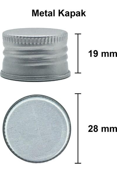Afracam Yassı Amber 200 ml Gümüş Metal Kapaklı Ecza Şişesi Cam Şişe